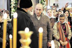 Владимир Путин на рождественской службе