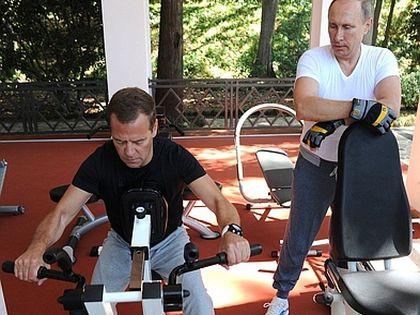 Совместная тренировка Дмитрия Медведева и Владимира Путина