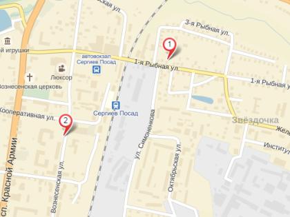 Территориально пострадавшие здания и заведения находятся в центре Сергиева Посада