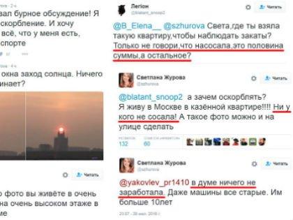 Фрагмент публичной перепалки в твиттере Светланы Журовой