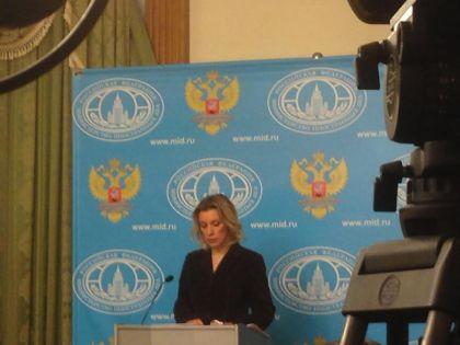Мария Захарова во время брифинга с журналистами