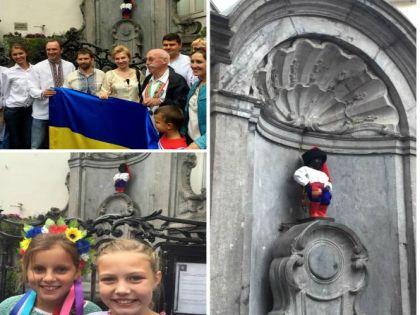 Писающего мальчика одели в украинский национальный костюм