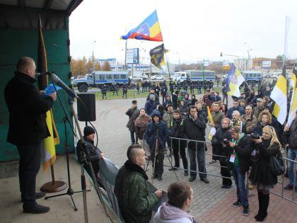 На акции зачитали обращение задержанного политика Дмитрия Демушкина