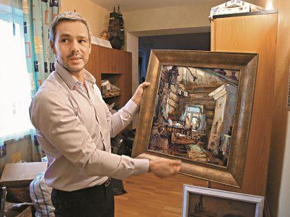 Художник Михаил Тихоновский подарил актеру эту картину под названием «Колыбель» в день рождения третьей дочери