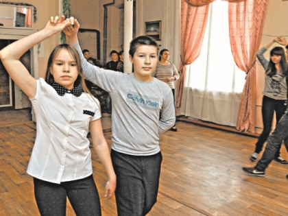 Школьники на репетиции