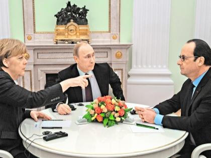 Встреча Меркель, Путина и Олланда