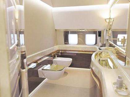 Ванная в вип-самолете вся позолоченная