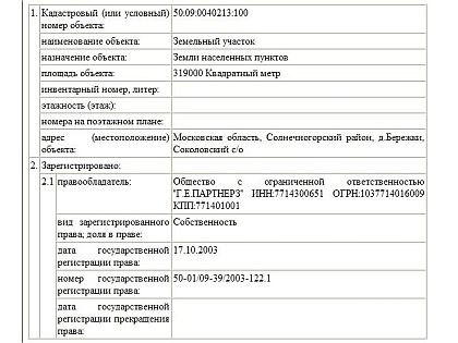 Данные о владельце объекта